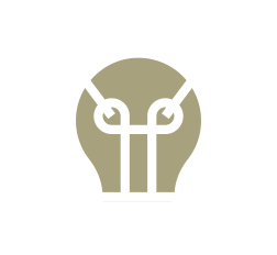 A lightbulb icon with a dashed circle border and protruding arrows.